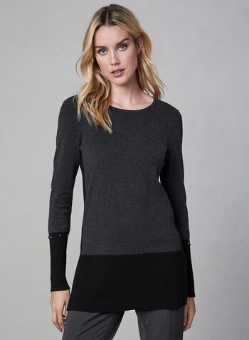 Colour Block Knit Tunic, Grey,  fall 2019, winter 2019, knit, tunic, long sleeves, colour block