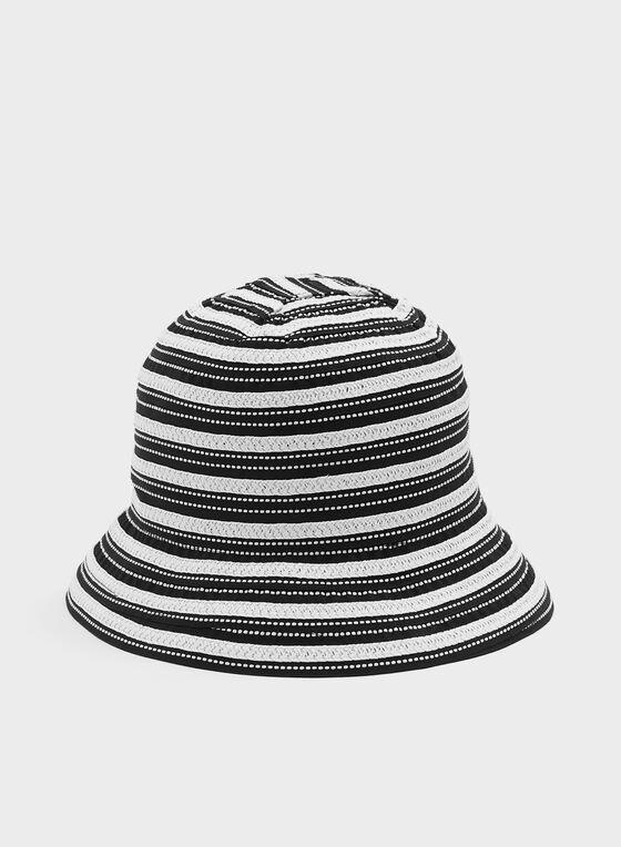 Two Tone Cloche Hat, Black, hi-res