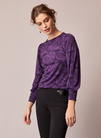 Long Sleeve Crepe Top, Purple,  fall winter 2020, top, boat neck, crepe, long sleeves, light, stretch, made in Canada, butterfly print, holiday, holiday 2020, gift