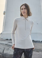 Long Sleeve Polo Sweater, Off White