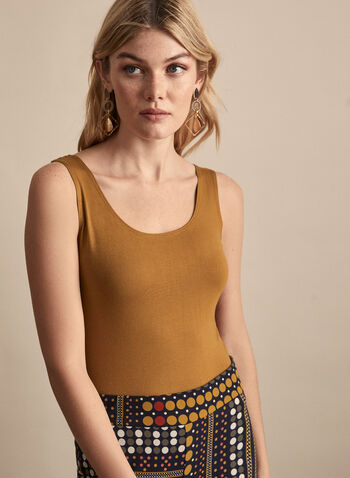 Alison Sheri - Basic Tank Top, Brown,  spring summer 2020, scoop neck, sleeveless, jersey, basic, Alison Sheri