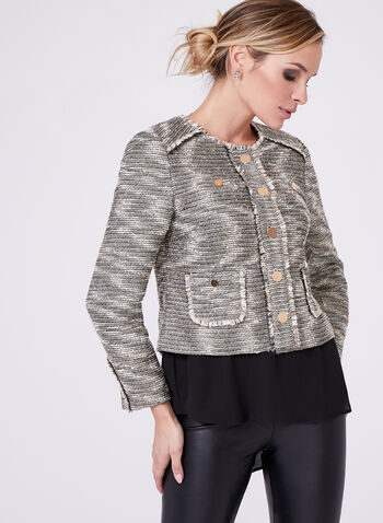 Bouclé Fringe Trim Cropped Jacket, , hi-res