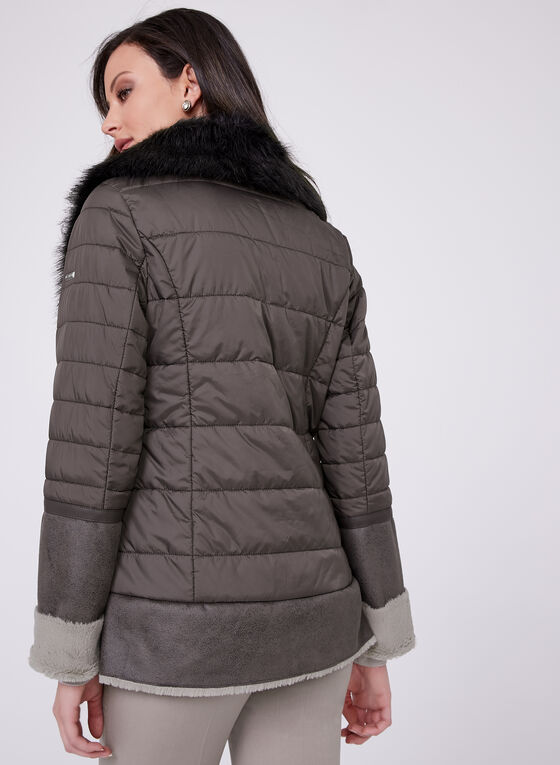 Novelti - Quilted Poly Fill Faux Shearling Coat, Off White, hi-res