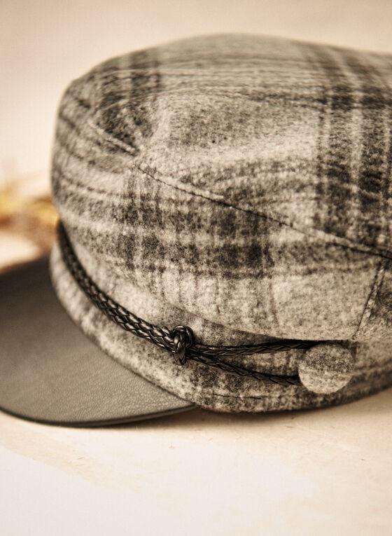 Plaid Print Newsboy Cap, Grey