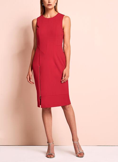 Ivanka Trump - Robe néoprène détail zippé , Rouge, hi-res