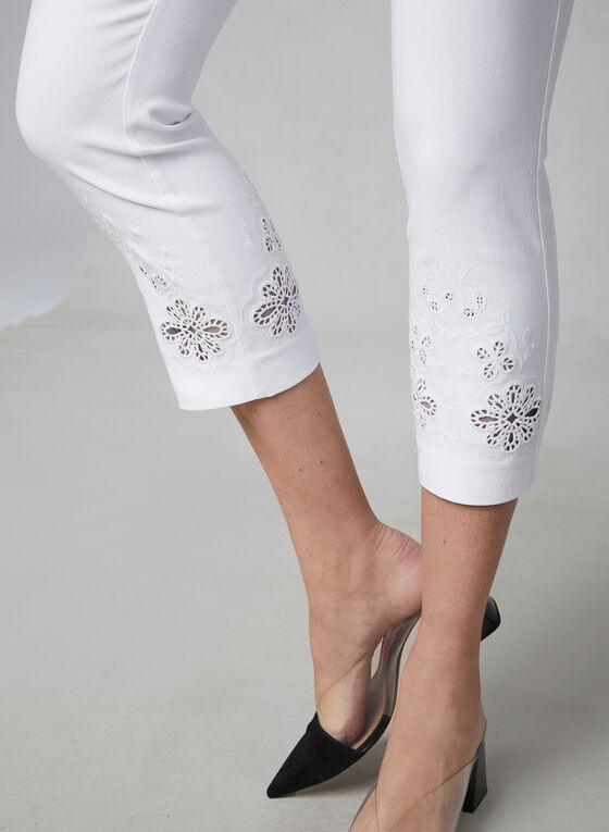 Embroidered Capri Pants, White, hi-res