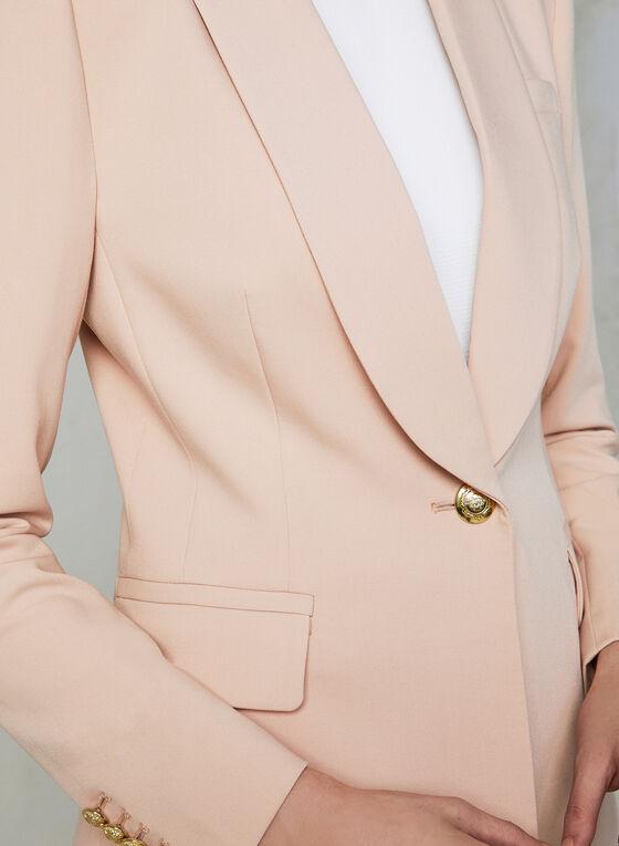 Veste à col châle et boutons dorés, Rose