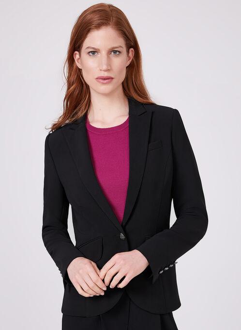 Notched Collar Blazer, Black, hi-res