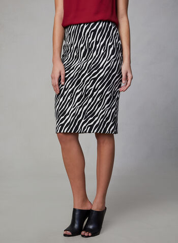 Zebra Print Jacquard Skirt, Black,  animal print pencil skirt