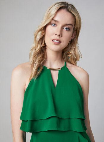 Kensie - Halter Neck Asymmetric Dress, Green, hi-res,  Spring 2019, cocktail dress, crepe, halter neck, sleeveless