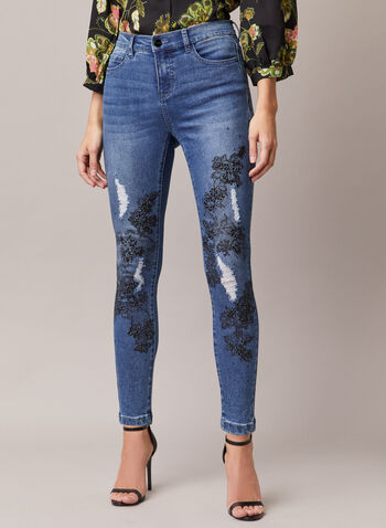 Slim Leg Embellished Detail Jeans, Blue,  jeans, slim leg, denim, lace, rhinestones, pockets, distressed, fall winter 2020