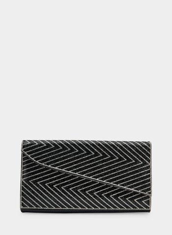 Pochette enveloppe asymétrique, Noir, hi-res,  pochette de soirée, zigzag, cristaux, asymétrie, automne hiver 2019