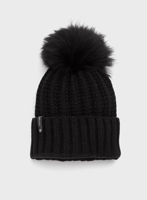 Tuque tricot avec pompon en fourrure, Noir, hi-res