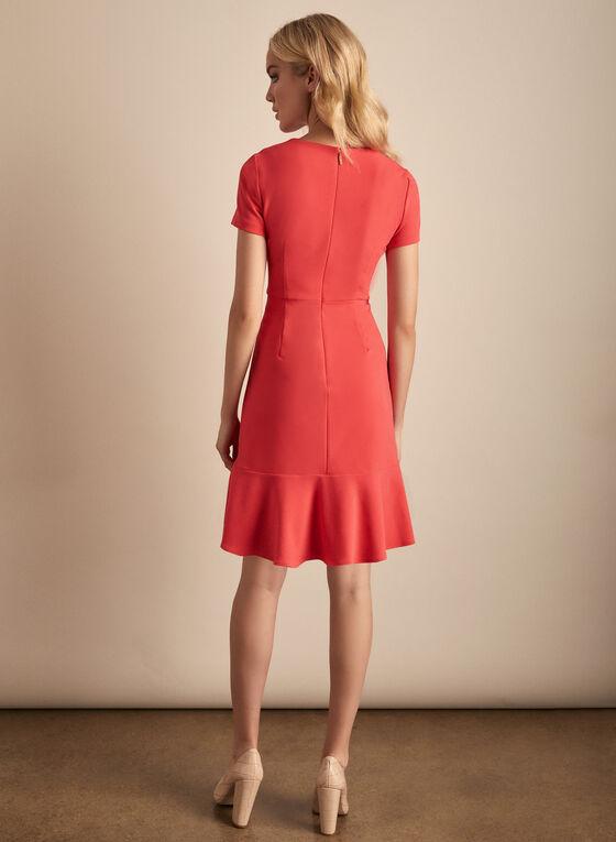 Karl Lagerfeld Paris - Short Sleeve Flounce Detail Dress, Pink