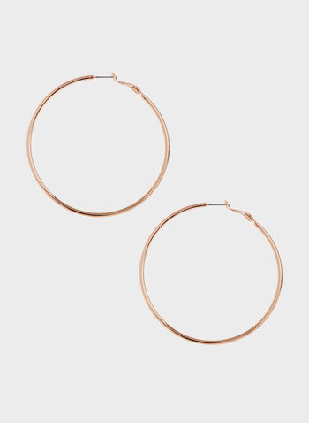 Metal Hoop Earrings, Pink, hi-res