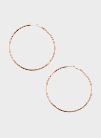 Boucles d'oreilles dorées à anneaux, Rose, hi-res