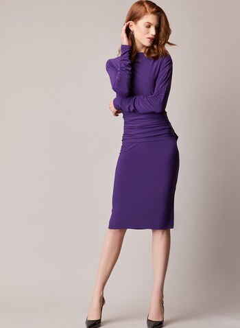 Ruched Sleeve Jersey Dress, Purple,  dress, day, jersey, ruched, long sleeves, sheath, pleated, fall winter 2021