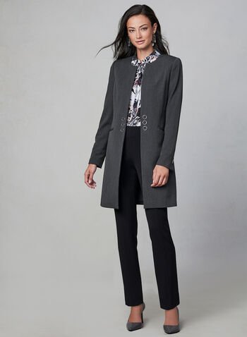 Structured Redingote, Grey,  fall winter 2019, long jacket, blazer, eyelet details