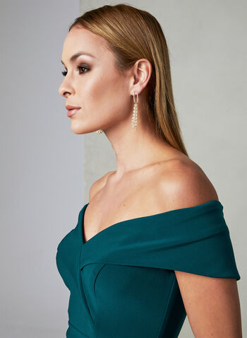 BA Nites - Off The Shoulder Dress, Green,  sweetheart, slit, spring 2019