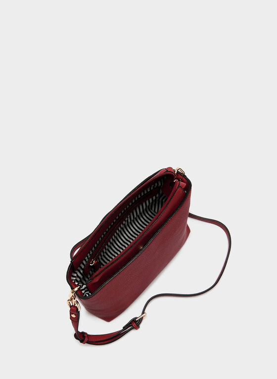 Faux Leather Crossbody Purse, Red, hi-res