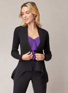 Open Front Pointed Hemline Cardigan, Black