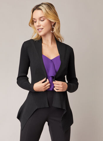 Open Front Pointed Hemline Cardigan, Black,  cardigan, open front, rib knit, pointed hemline, fall winter 2020