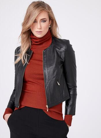 Genuine Leather Zipper Trim Jacket, Black, hi-res