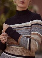 Striped Mock Neck Sweater, Black