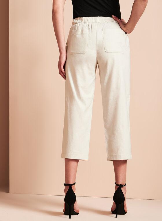Straight Leg Linen Capris, Grey, hi-res