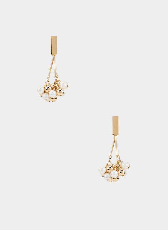 Boucles d'oreilles pendants en perles , Blanc cassé