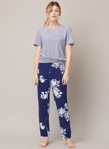 Two-Piece Pyjama Set, Blue,  fall winter 202, pyjamas, two-piece, set, pants, top, round neck