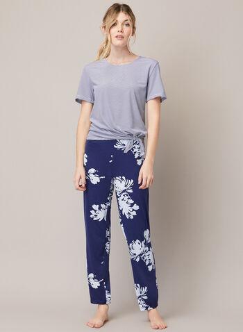 Pyjama à motif fleurs et rayures, Bleu,  automne hiver 2020, ensemble, pyjama