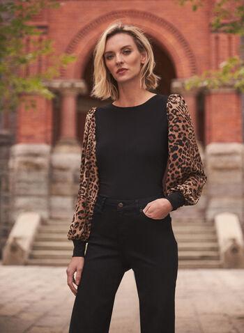 Haut à manches bouffantes et motif léopard, Noir,  haut, blouse, encolure arrondie, fait au canada, manches longues bouffantes, chiffon, tricot côtelé, motif léopard, animal, contrastes, automne hiver 2021