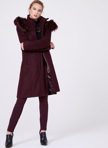 Manteau en laine à grand capuchon et fausse fourrure, , hi-res