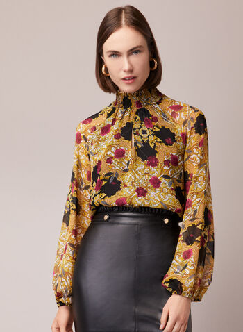 Baroque Print Mock Neck Blouse, Black,  blouse, balloon sleeves, baroque, mock neck, smocked, chiffon, fall winter 2020