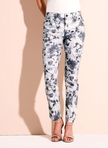 Floral Print Slim Leg Ankle Jeans, , hi-res