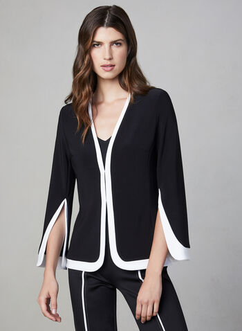Joseph Ribkoff - Contrast Trim Jacket, Black, hi-res,  fall 2019, winter 2019, ¾ sleeves, 3/4 sleeves, contrast colour