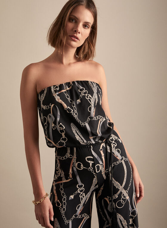 Strapless Printed Jumpsuit, Black