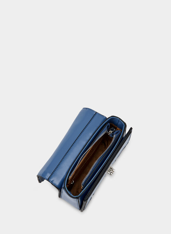 Metallic Detail Satchel, Blue