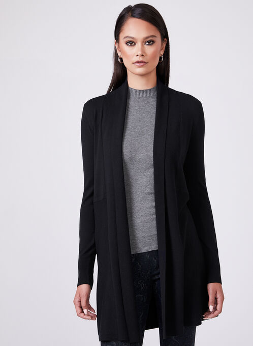 Open Front Shawl Cardigan, Black, hi-res