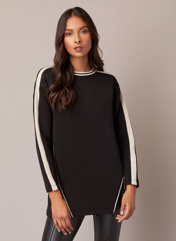 Contrast Top With Zip Details, Black,  fall winter 2020, top, tunic, contrasting, long sleeves, round neckline, tunic, zip, zipper, neoprene