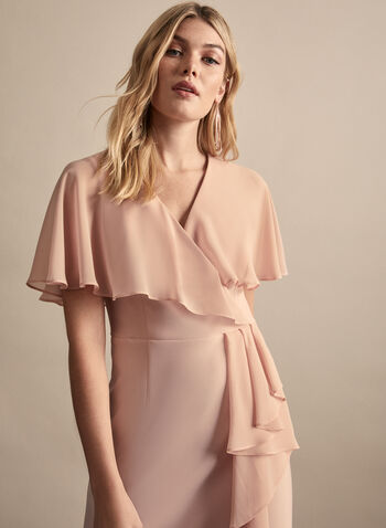 Joseph Ribkoff - Cape Detail Sheath Dress, Pink,  spring summer 2020, cape details, sheath, ruffle trim