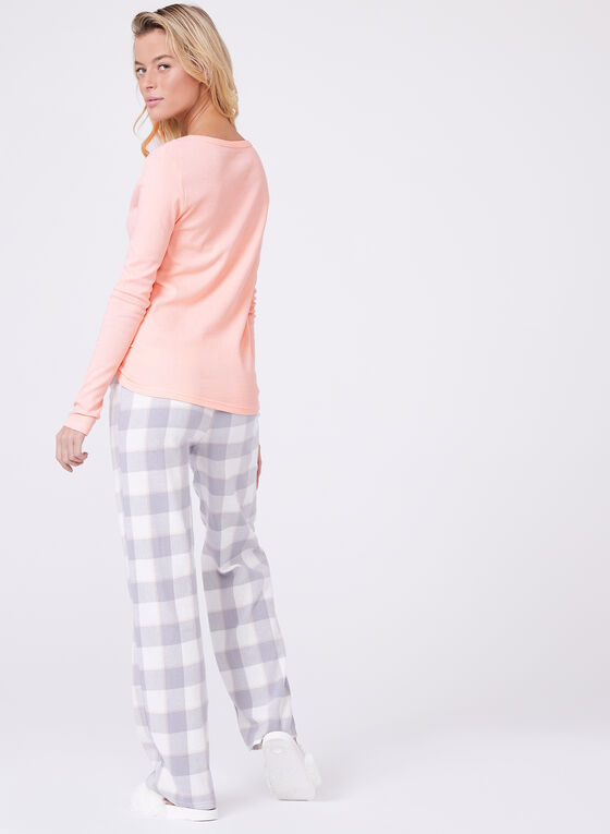 U.S. Polo Assn. - Plaid Print Flannel Pajama Set, Pink, hi-res
