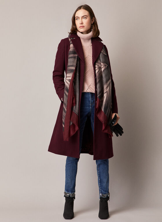Wool Blend Button Down Coat, Purple