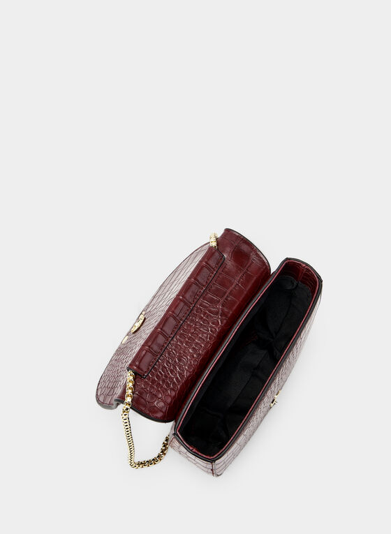Sac demi-lune aspect crocodile, Rouge, hi-res