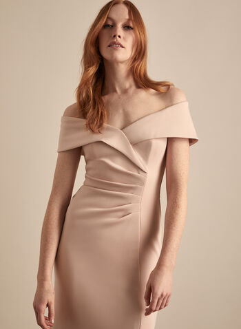 BA Nites - Off-the-Shoulder Dress, Pink,  dress, evening, spaghetti straps, foldover, off the shoulder, stretchy, scuba, pleated, column, spring summer 2020