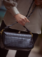 Crocodile Motif Handbag, Black