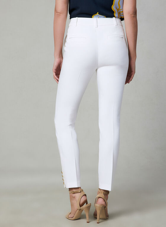 Button Detail Slim Leg Pants, Off White, hi-res