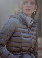 Manteau matelassé à fermoir apparent, Gris