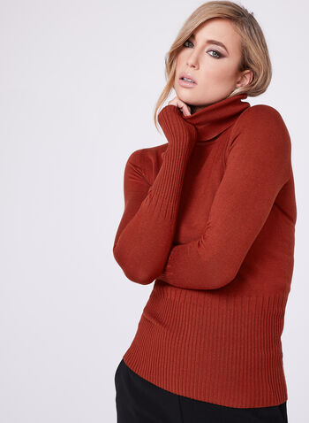 Long Sleeve Turtleneck Sweater, Orange, hi-res